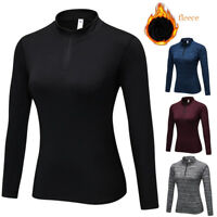 Women's Thermal Shirt Under Base Layer 1/4 Zip Mock Neck Fitness Gym Workout Top