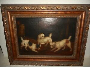 Antique oil painting,{ Dogs watching a caged mouse, nice frame! }.