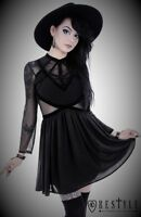 Restyle Black Long Sheer Sleeve Backless Dress for Gothic & Punk Women Plus Size