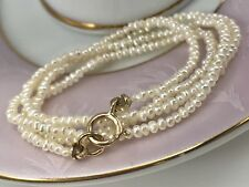 """14K Gold & Natural Seed Pearl Necklace for Antique Pendants,15.75"""""""