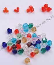 100pcs Bicone Faceted Rondelle Glass Crystal Charm Loose Spacer Jewelry Bead 4MM