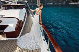 Genuine Unaltered Eddy K Trudy 12 14 Fitted Lace Wedding Dress
