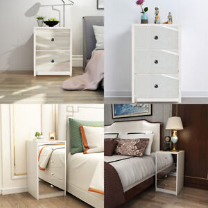 Wooden Bedside Table Cabinet Storage Mirrored 2/3/4 Drawers Bedroom Nightstand