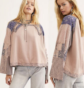 Free People In Pieces PatchWork Embroidered Bandana Raglan Swing Top S $128