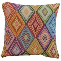 "Geometric Turkish Kilim Cushion. 17x17"" Square. Heavyweight Traditional Tapestry"