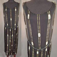 c4dcf34a49f Vintage Art Deco Black Silk Gold Lamé Lame Ombre Beaded Drop Waist Flapper  Dress