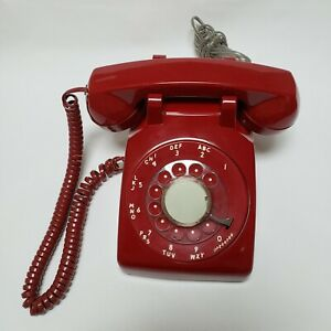 Vtg Red Rotary Dial Desk Phone Cortelco Telephone w/cord Hearing Aid Compatible