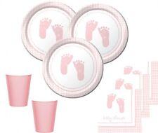 48 Teile Baby Füßchen in Rosa Babyshower Set für 16 Personen Baby Party + Geburt