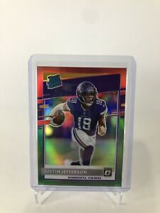 2020 Donruss Justin Jefferson SP Green & Red Optic Prizm Rated Rookie No. P-313