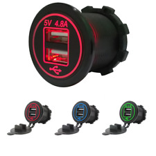 Waterproof Motorcycle Dual 2.4A USB Charger Red LED w/ Cable for iPhone Samsung