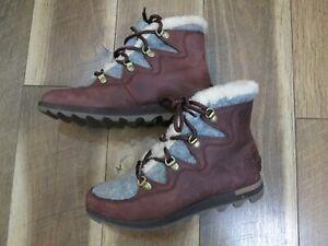 Sorel NL3287 Women's Brown Leather Sneakchic Cattail Alpine Boots Sz 7.5 EU 38.5