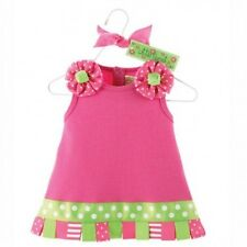 Mud Pie Baby Girl Little Sprout Pink Ribbon Tab Dress Ribbon Trim 0-6 Months