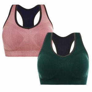 2 Pack Racerback Sports Bra Women Seamless High Impact Running Yoga Workout Bra