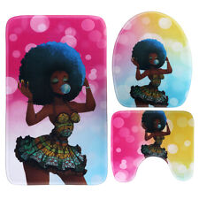 US 4Pcs African Fashion Girl Shower Curtain Bath Mat Toilet Cover Rug W/ 12 Hook