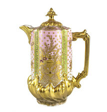 Limoges France Porcelain Chocolate Pot c.1900. Hand Painted Gilt & Enamel