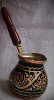 Handmade Copper Turkish Coffee Pot, Cezve,Silver Engraved, L size,Wonderful gift
