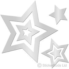 36 SILVER STAR STICKERS Car / Wall Decals Graphics Bedroom Window t6