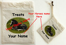 Cotton Treat Bag Personalised with your own Horse photograph and Name 13 by 10cm