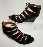 Donald J Pliner 'Jeisa' Womens 11M Black Caged Lace Up Strappy Wedge Sandals