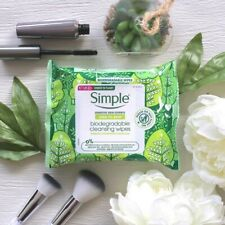 3x Packs of NEW Simple Biodegradable Cleansing Face Wipes 20 (total 60)