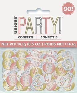 90th Birthday Rose Gold Glitz Table Confetti Age 90 Decoration Metallic Colours