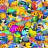 Nautical Fabric - Bright Tropical Fish C6148 Electric - Timeless Treasures YARD