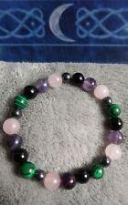 empath protection crystal healing bead bracelet tourmaline malachite quartz