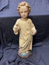 Jesulein Jesus Christkind Holzfigur um 1900 Antik Holz geschnitzt Heiligenfigur