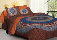 Indian Jaipur Beautiful Red Color Pure Cotton Bed Sheet With 2 Pillow Covers Set
