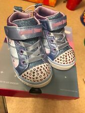 Crystal Stars Toddler Girls' Blue Glitter Donut Shoes Lace Up Sneakers Size 5