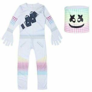 Hot MarshMello DJ Cosplay Costume Fancy Halloween Party Jumpsuit Set Kids Boys