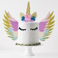 3pcs/Set Unicorn Cake Topper Sparkly Wings Birthday Party Supplies Cake Dec Mimu