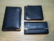 A set of DAKS black leather key wallet, coin purse and card wallet Made in UK