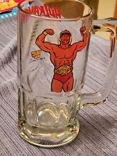 "Vintage 1985 Hulkamania heavy glass mug 8"" tall Great Condition"