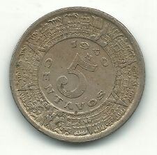 HIGH GRADE 1940 M MEXICAN MEXICO 5 CENTAVOS-AZTEC CALENDAR-MAY340