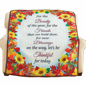 Thanksgiving Decoration Fall Leaves Sunflower Blessings Quilted Throw Blanket