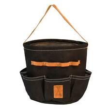 Esschert Design Round Denim Garden Tool Bag with 7 external pockets.