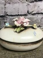 Capodimonte Made in Italy Dish With Lid Trinket Box Floral Flowers Porcelain