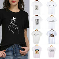 Fashion Women Casual Ladies Short Sleeve T Shirt Tops Blouse Heart Printed Tee