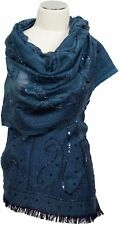 Schal 100% Wolle Country Blue handbestickt Pailletten scarf wool  embroidered