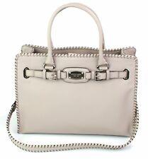 Michael Kors Satchel Bag Cement Grey Whipped Hamilton Leather Large Handbag