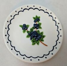 "Market Brand Small Blueberry China Plate 4.5"", Raised Relief Berry Design"