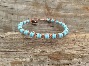 Blue Opal Solid Copper Wire Wrapped Braided Bangle Bracelet Wrap Boho Plait