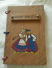 VTG SNAP SHOTS HAND PAINTED WOOD PHOTO ALBUM/ JOURNAL: DUTCH/EURO LOVERS WEDDING