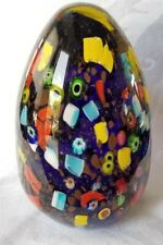 MURANO ART GLASS LARGE EGG PAPERWEIGHT MILLEFIORI CANE.