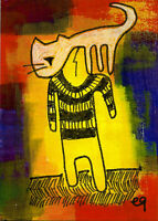 21010602 e9Art ACEO Cat Outsider Art Brut Painting Cartoon Contemporary Folk