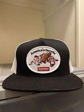 SUPREME AMERICA'S FAVORITE MESH BACK 5-PANEL HAT/ BLACK OS SS21 WEEK 1 In Hand