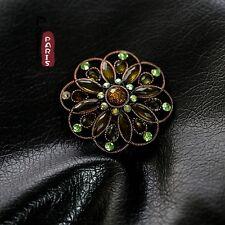 Spilla Fiore Tondo Verde Rame Vintage Stile Originale Sera Matrimonio Regalo XZ4