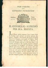 CONSIGLIO SUPREMO PIEMONTE 1799 VENDITA BENI ORDINE SS. MAURIZIO LAZZARO MALTA