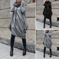 Women Ladies Batwing Sleeve Heaps Neck Jumper Dress Baggy Pullover Tops Tunic